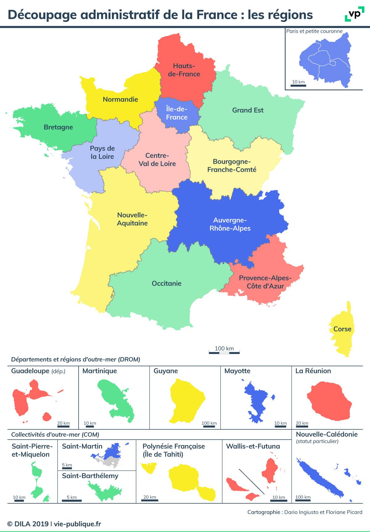 Découpage Administratif De La France : Les Régions | Vie intérieur Département D Outre Mer Carte