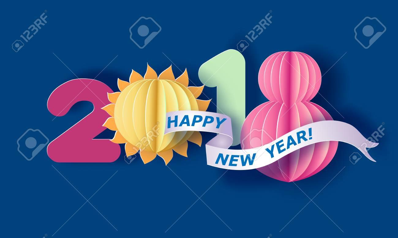 Découper Le Papier Et Le Chiffre D'artisanat 2018. Carte De Vacances De  Nouvel An. Illustration Vectorielle à Chiffre A Decouper