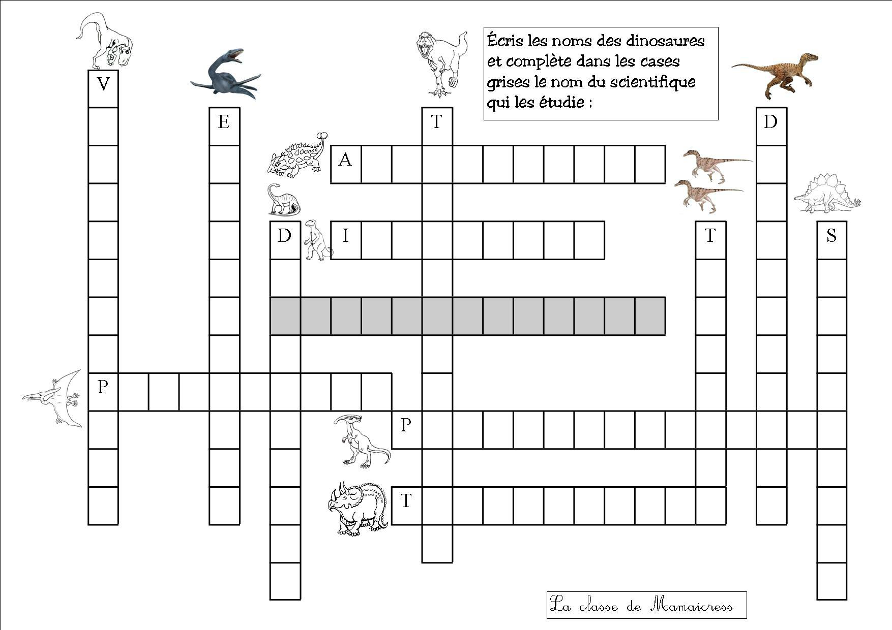 Découverte Du Monde : Les Dinosaures - La Classe De Mamaicress dedans Mot Croisé Cp
