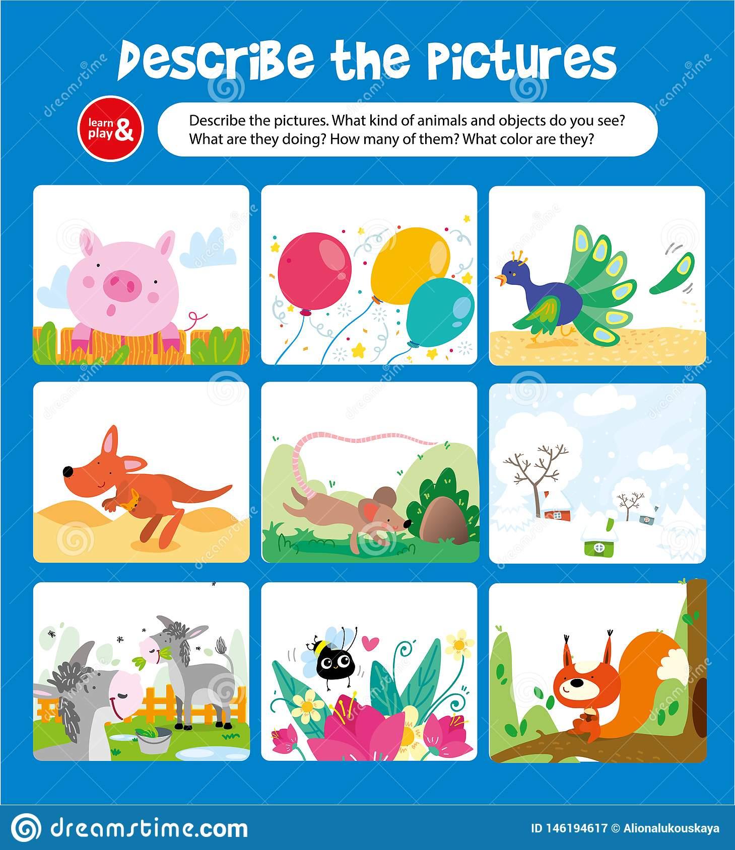 Décrivez L'image Avec Le Jeu D'animal Et D'enfant D'objet pour Jeu Cri Des Animaux