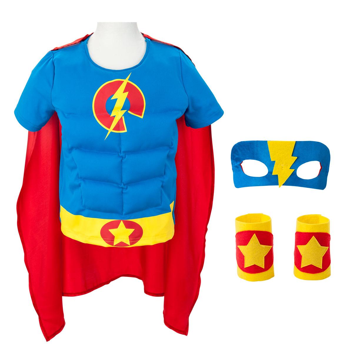 Déguisement Super Boy Héros 6-8 Ans avec Jeux Flash Enfant