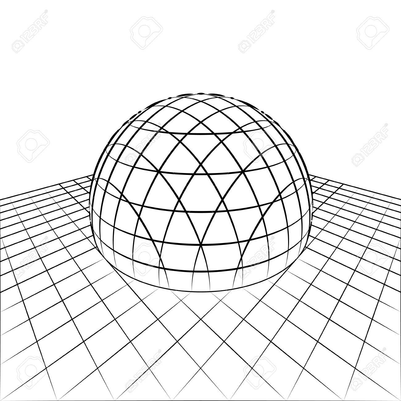 Demi-Sphère En Ligne De Quadrillage Perspective Dessin Illustration destiné Dessin Sur Quadrillage