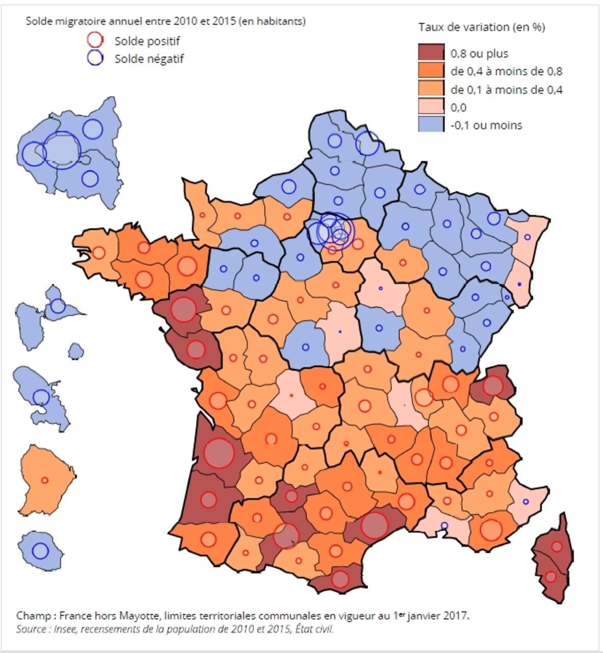 Démographie : Les Départements Qui Attirent Et Ceux Qui serapportantà Carte Des Départements De France 2017