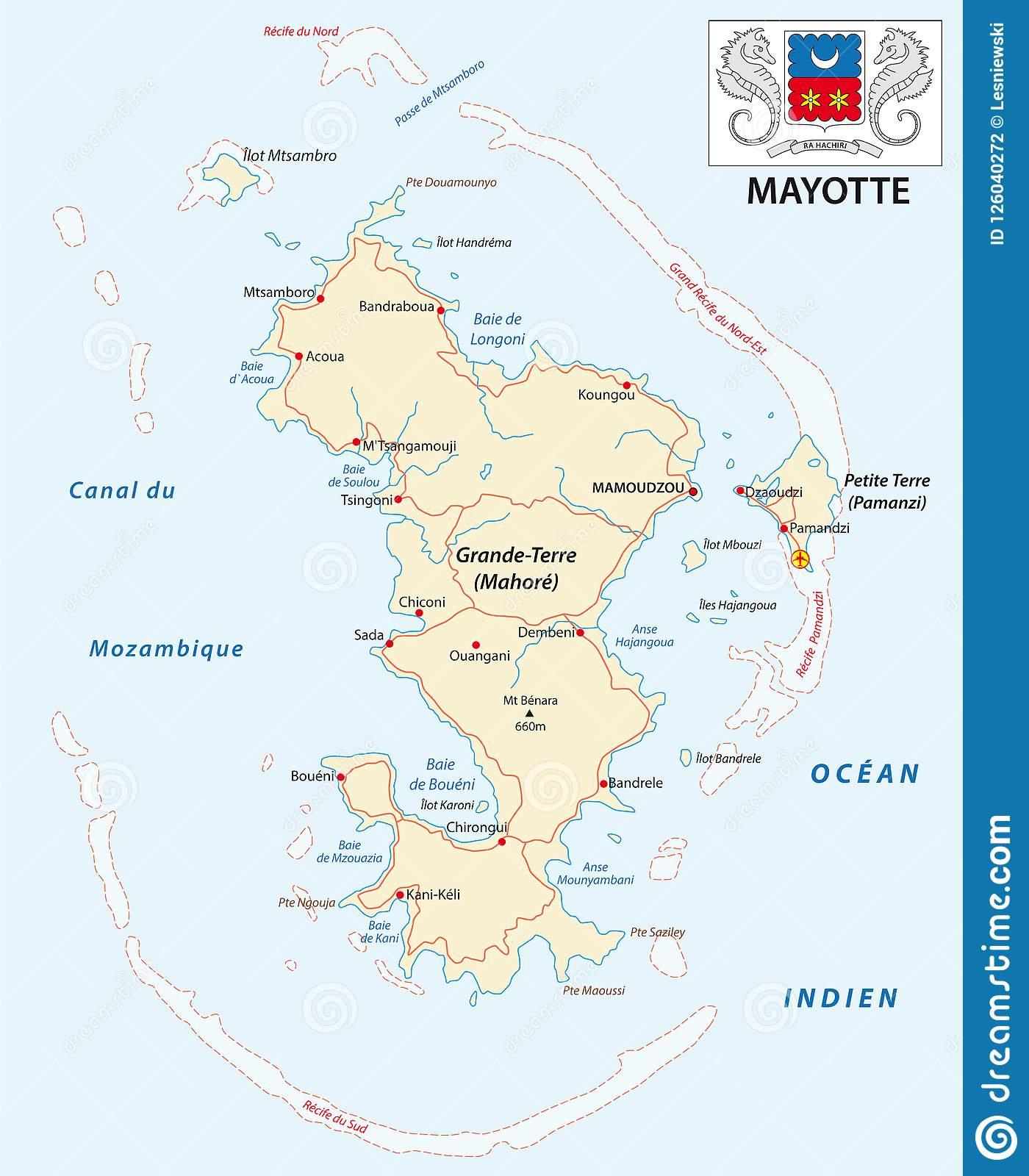Département De Carte De Vecteur De Route De Mayotte Avec Le avec Carte Avec Departement