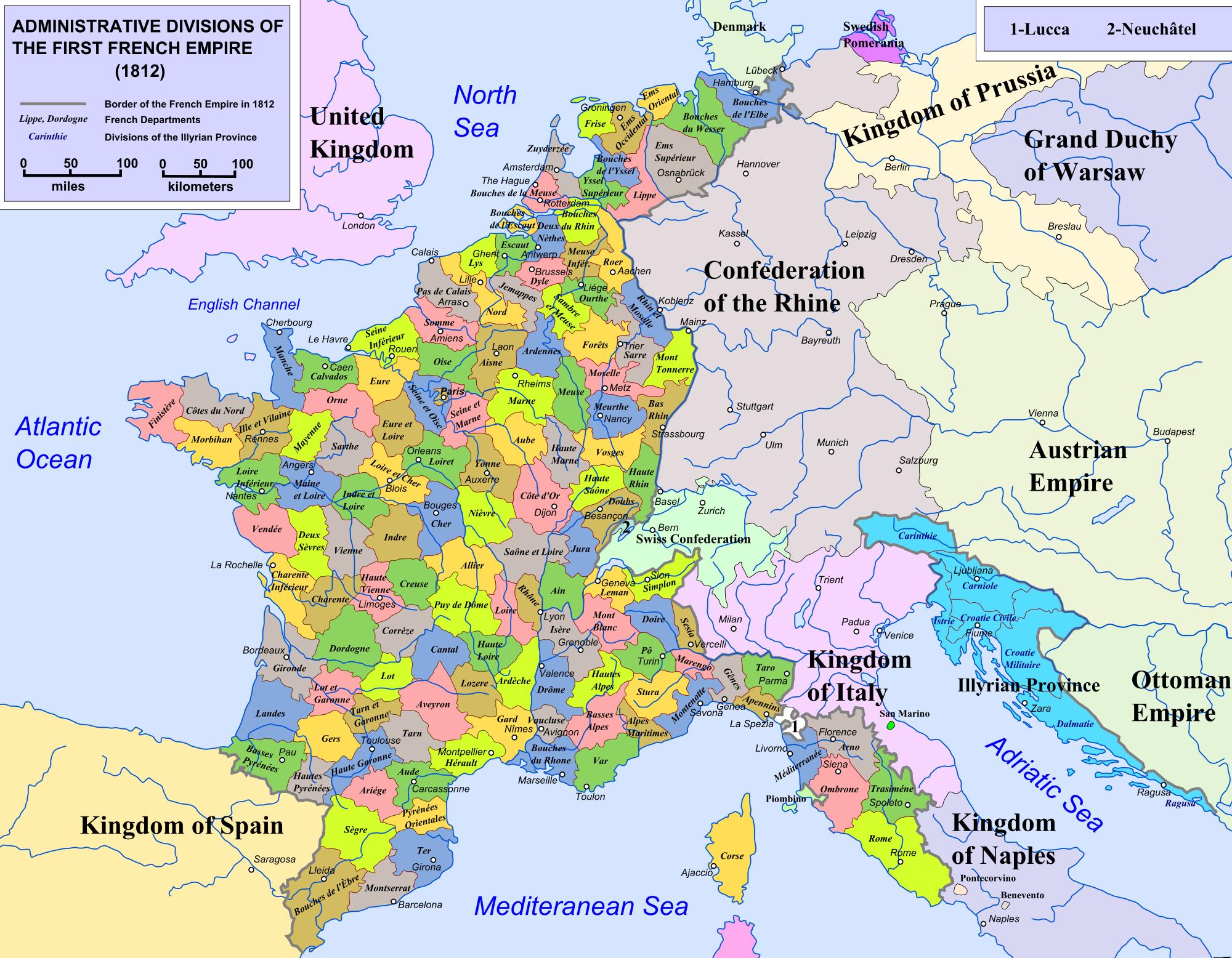 Departement De France Sous Napoleon serapportantà Departement Francais Carte