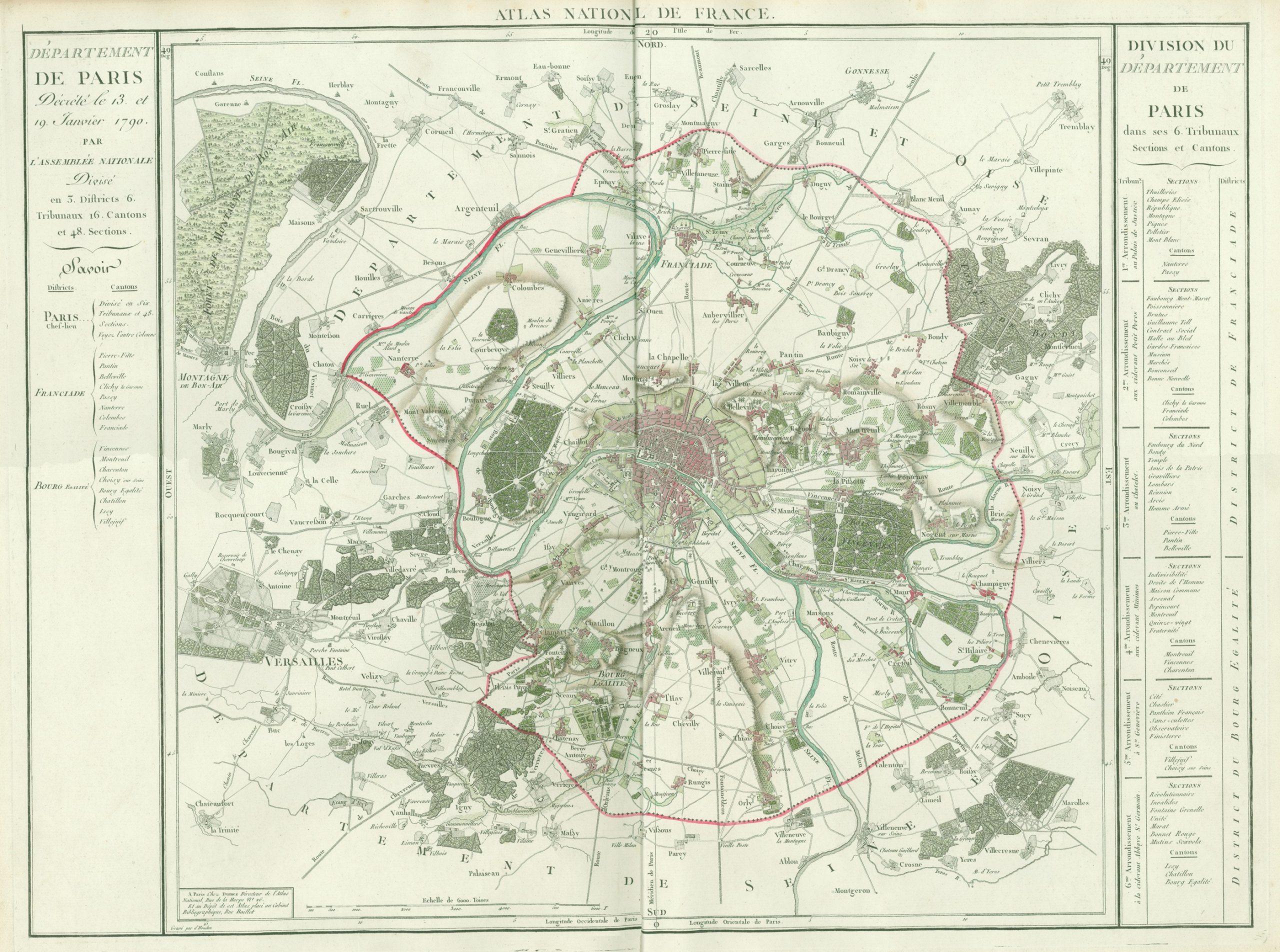 Département De Paris, Décrété Le 13 Et 19 Janvier 1790 concernant Département 13 Carte