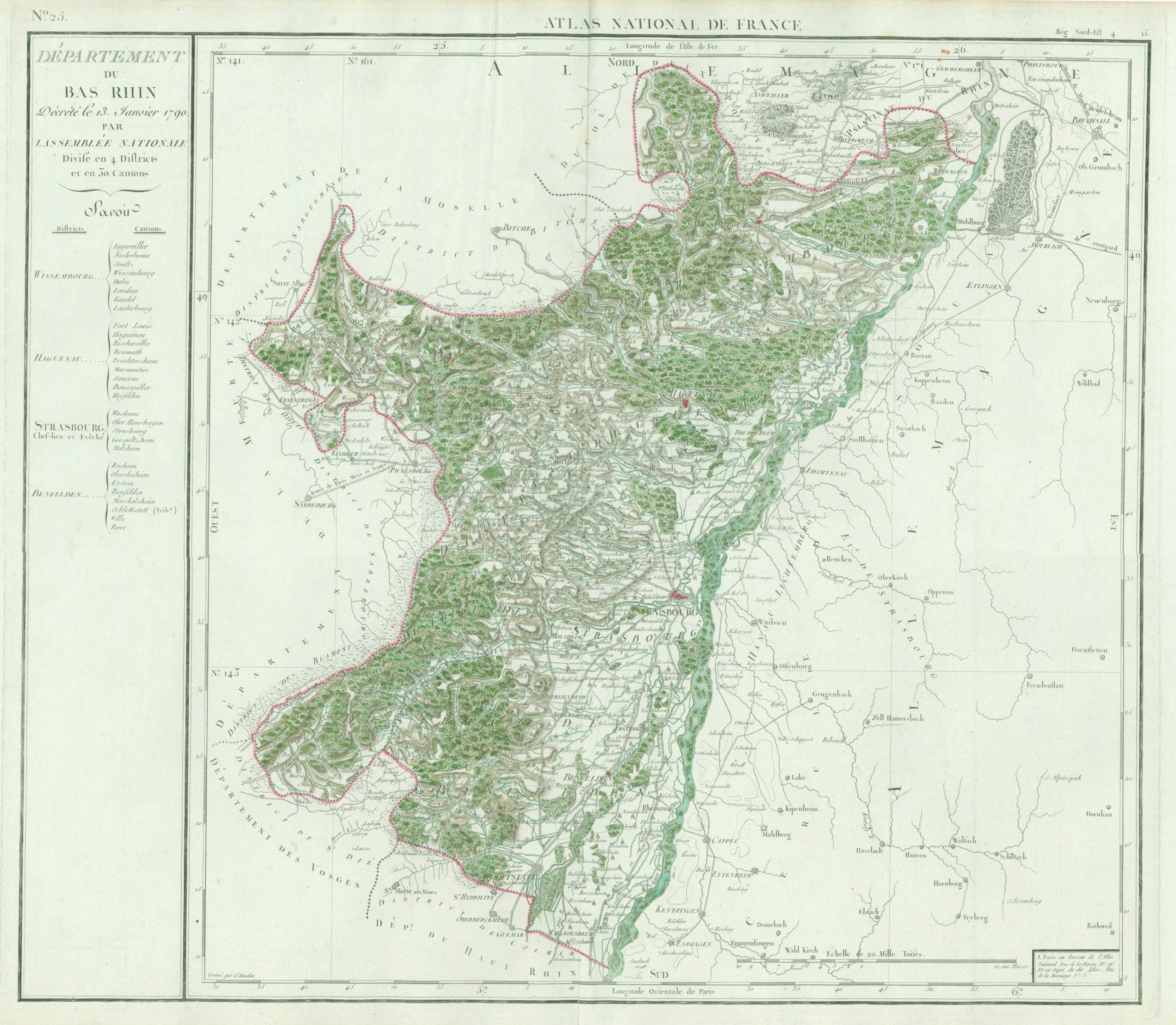 Département Du Bas Rhin, Décrété Le 13 Janvier 1790 concernant Département 13 Carte
