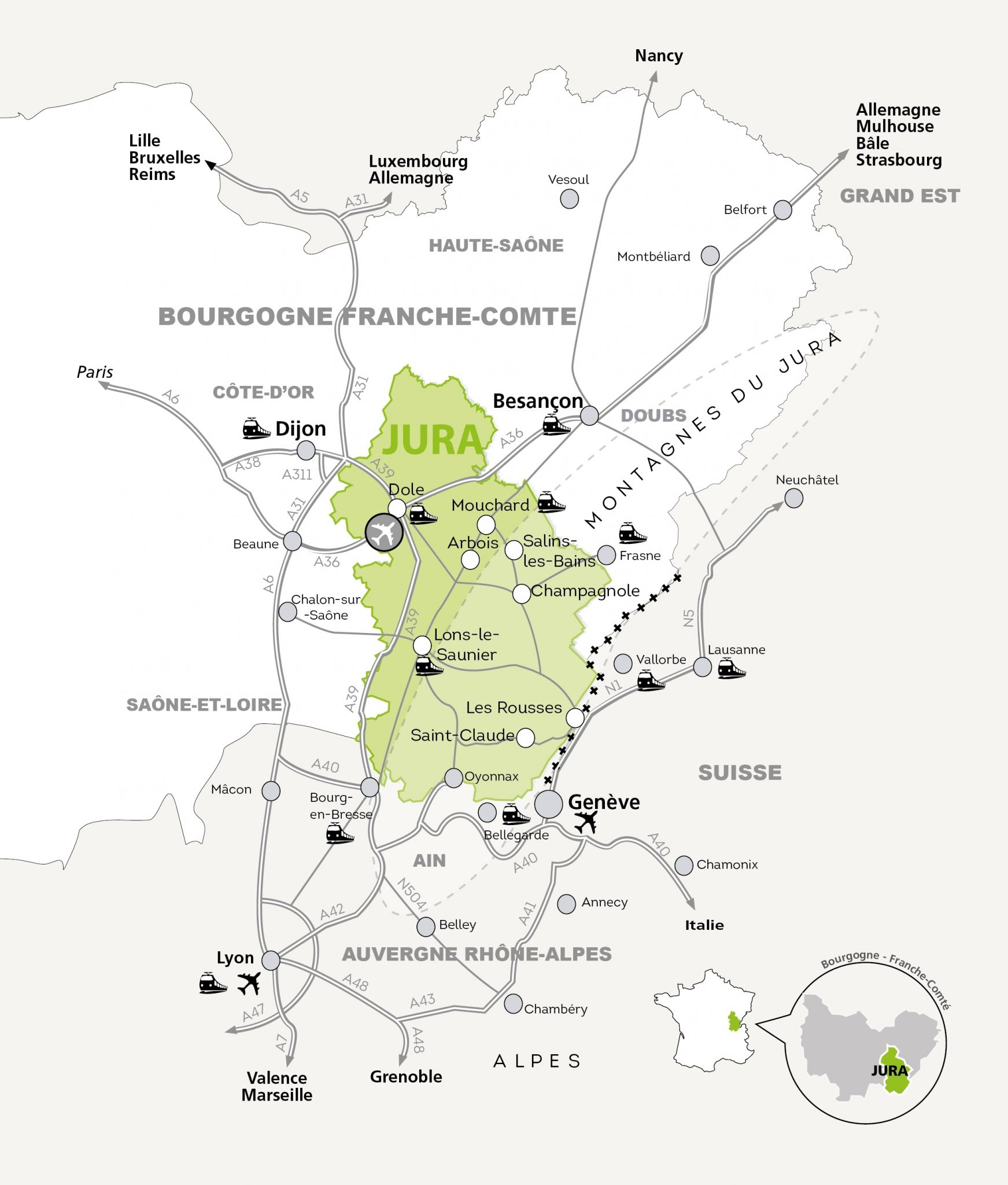 Département Du Jura, Venir Dans Le Jura, Carte Et Plan pour Carte De France Numéro Département