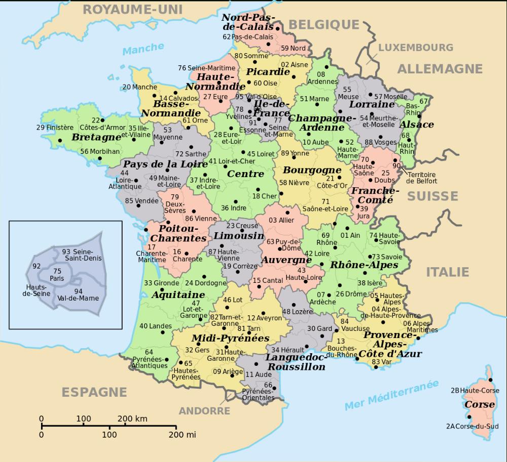 Département France Nombre intérieur Nombre De Region