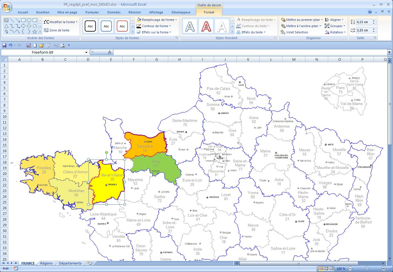 Départements De France Pour Word Et Excel Modifiable destiné Carte Departements Francais