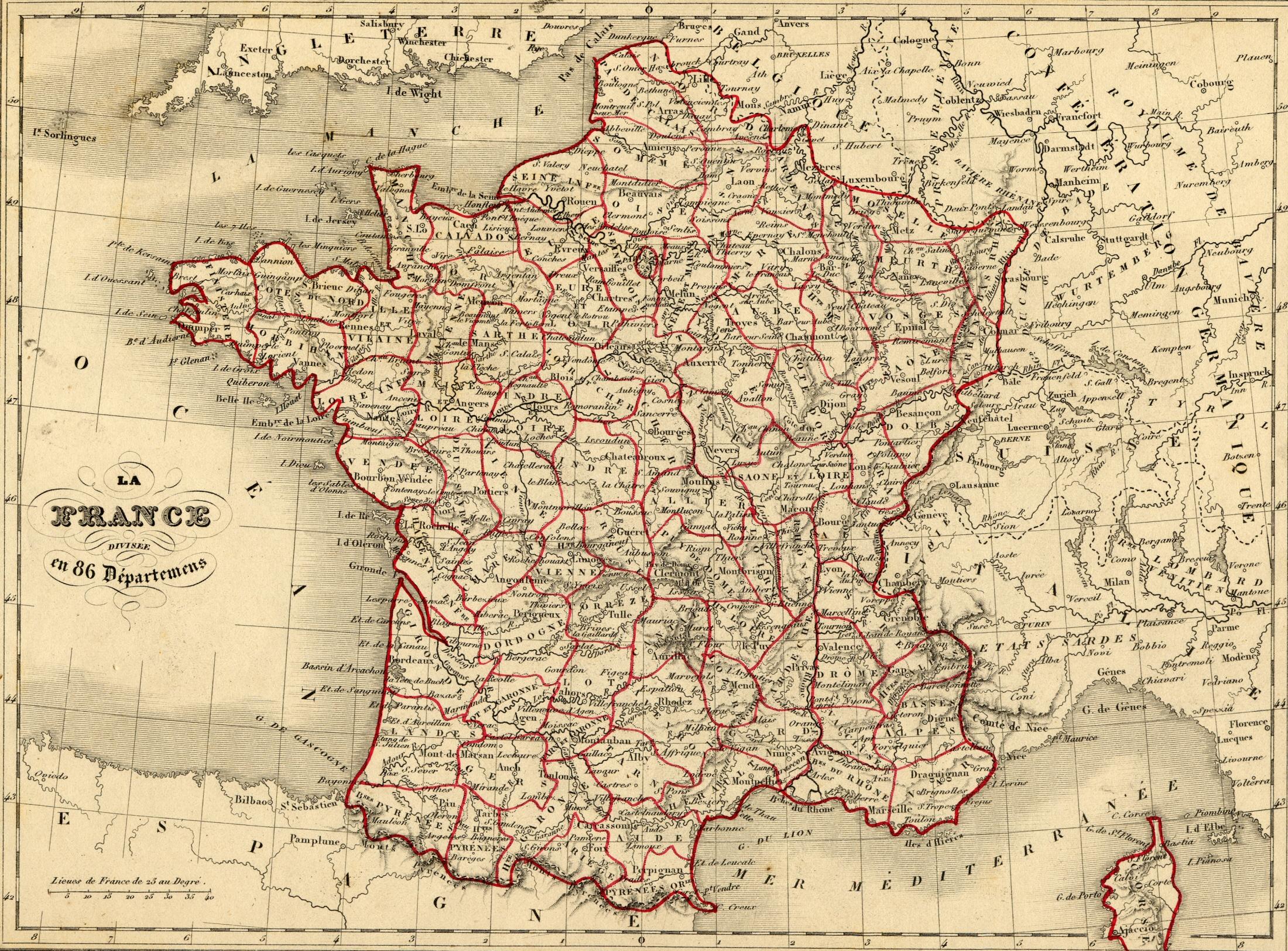 Départements Depuis 1790 pour Carte Departements Francais