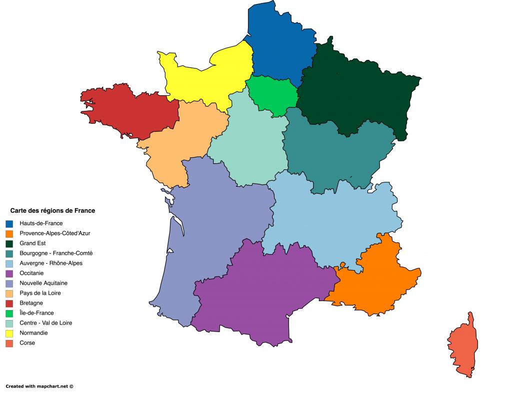 Des Fonds De Carte Gratuits Personnalisables En Ligne dedans Liste Des Régions De France