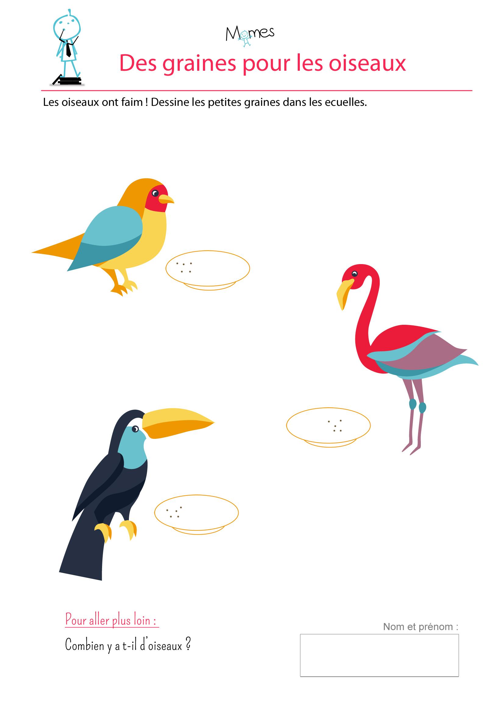 Des Graines Pour Les Oiseaux - Dessiner Des Points - Momes concernant Activité 3 Ans Imprimer