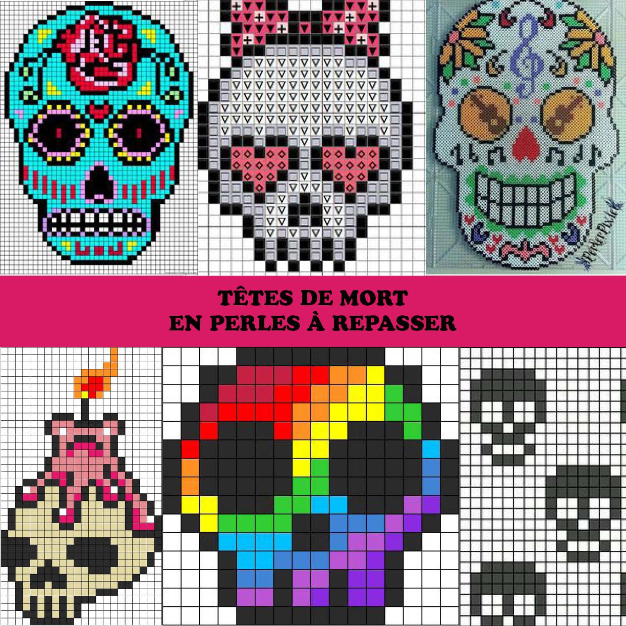 Des Têtes De Mort Infernales À Créer En Perles Hama dedans Modele Dessin Pixel