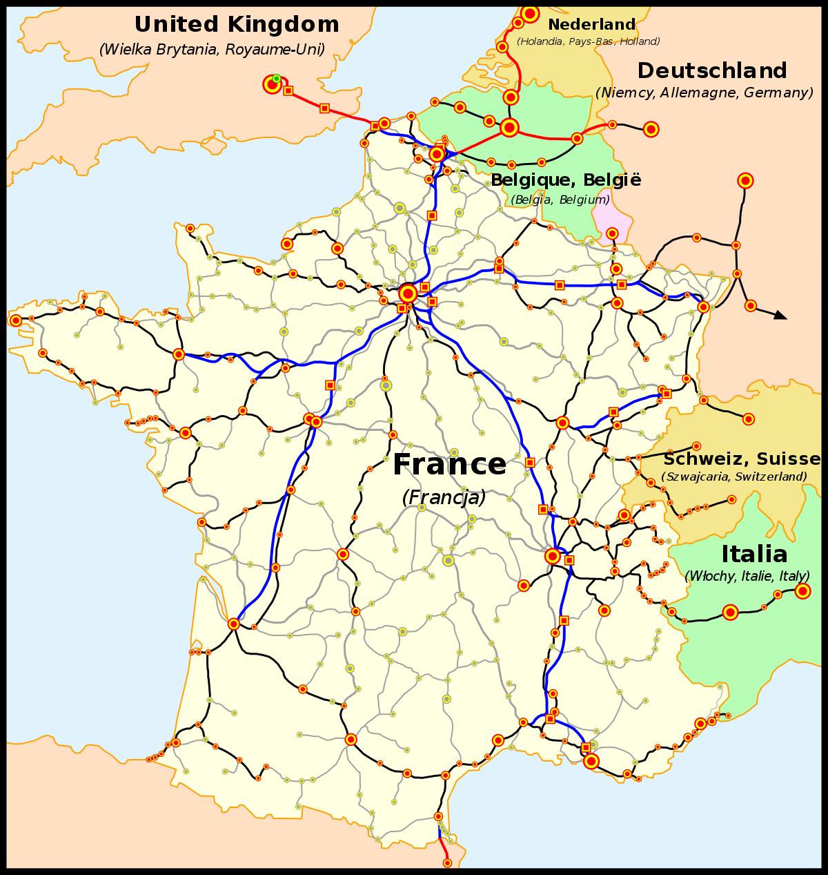 Dessertes Assurées En Tgv — Wikipédia intérieur Carte D Europe En Francais