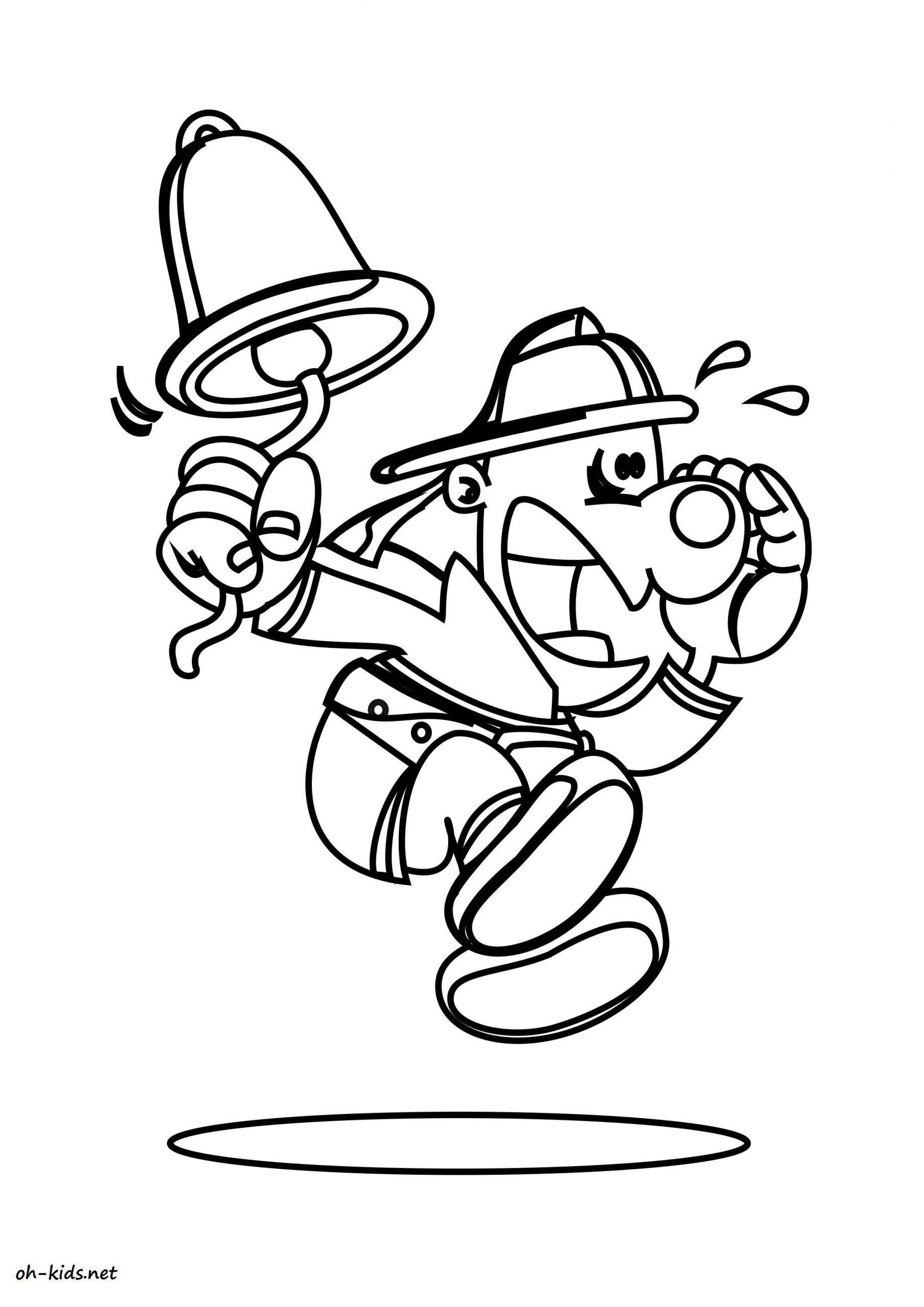 Dessin #1550 - Coloriage Pompier À Imprimer - Oh-Kids serapportantà Dessin De Pompier À Imprimer