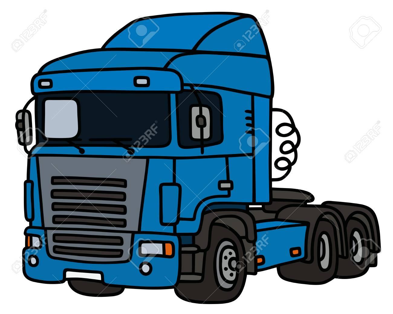 Dessin À La Main D'un Camion Bleu Remorquage Drôle à Dessin D Un Camion