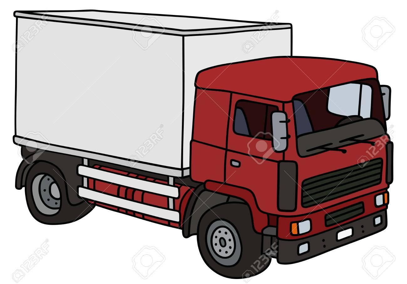 Dessin À La Main D'un Camion De Livraison Rouge - Pas Un Vrai Modèle à Dessin D Un Camion