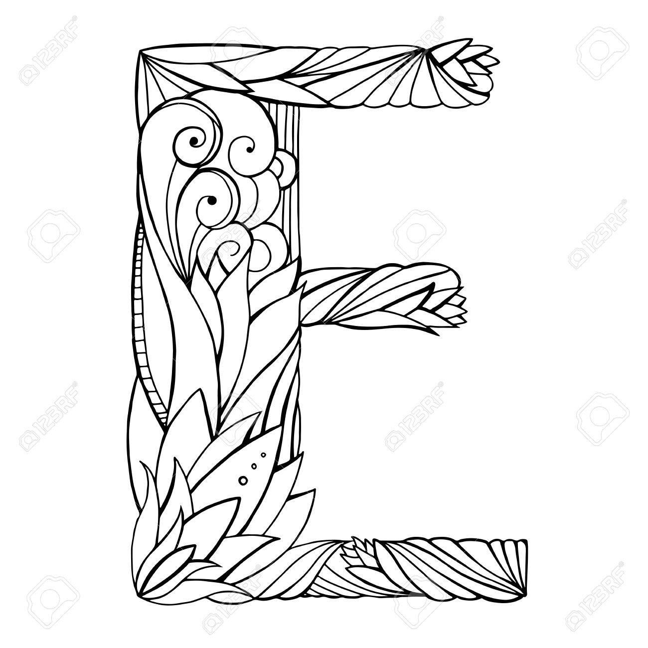 Dessin À Main Levée Noir Et Blanc Lettre Majuscule E Avec Motif Floral  Doodle. Élément De Vecteur Pour Votre Conception encequiconcerne Dessin Lettre E