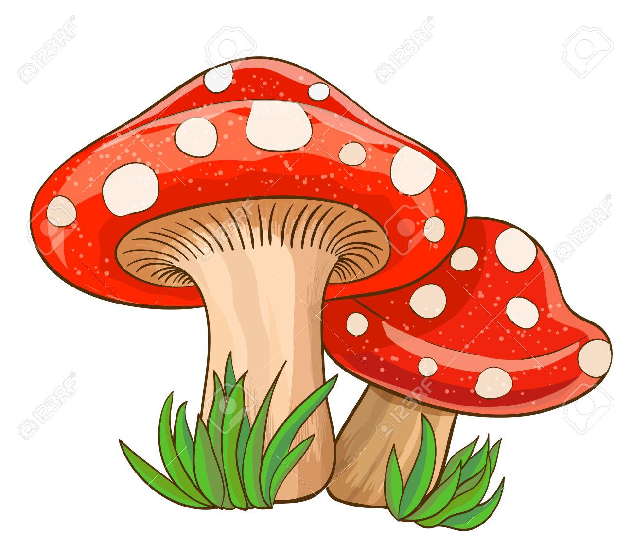 Dessin Animé Champignons Rouges Et De L'herbe Sur Blanc. Illustration  Vectorielle avec Dessiner Un Champignon
