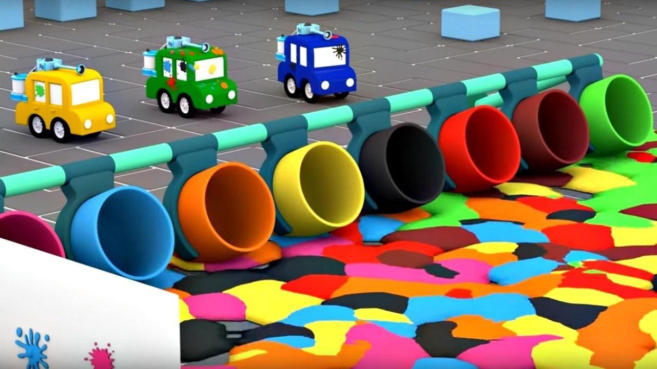Dessin Animé Éducatif Pour Enfants De 4 Voitures - Paint-Ball pour Jeux De Voiture Jaune