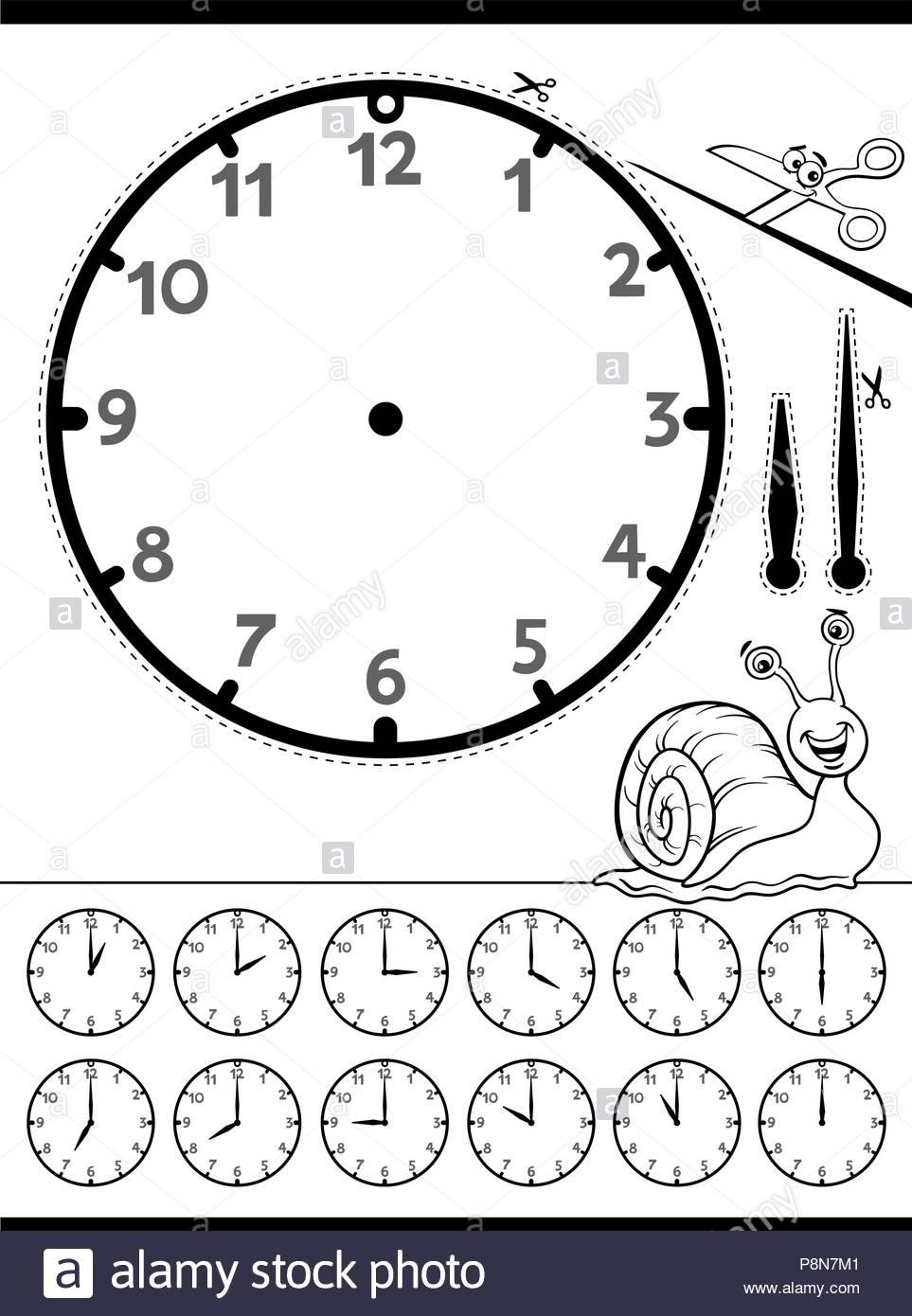 Dessin Animé En Noir Et Blanc Illustrations De Dire L'heure avec Dessin D Horloge