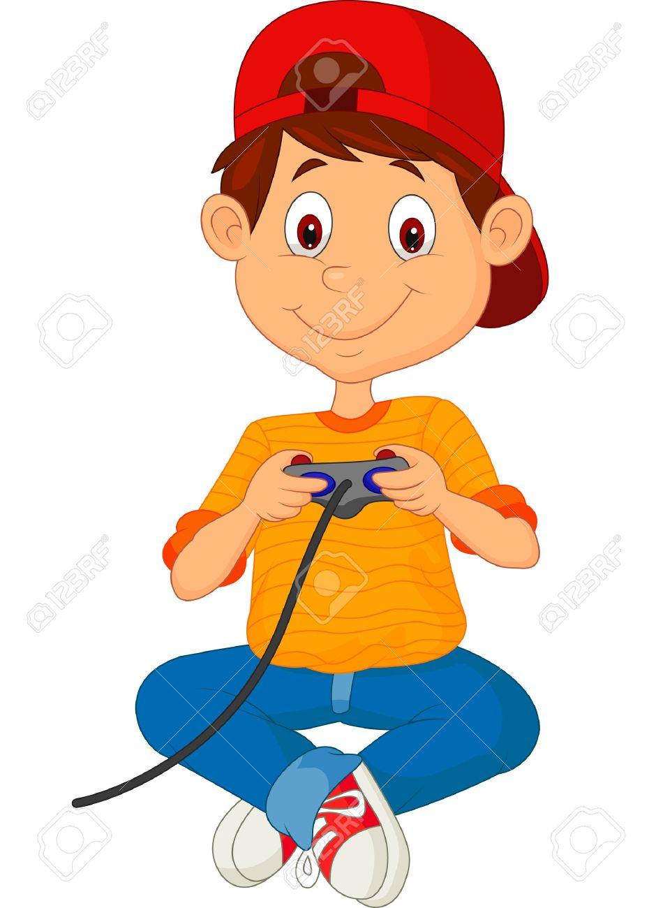 Dessin Animé Enfant Joue À Des Jeux Sur Le Joystick dedans Jeux Enfant Dessin