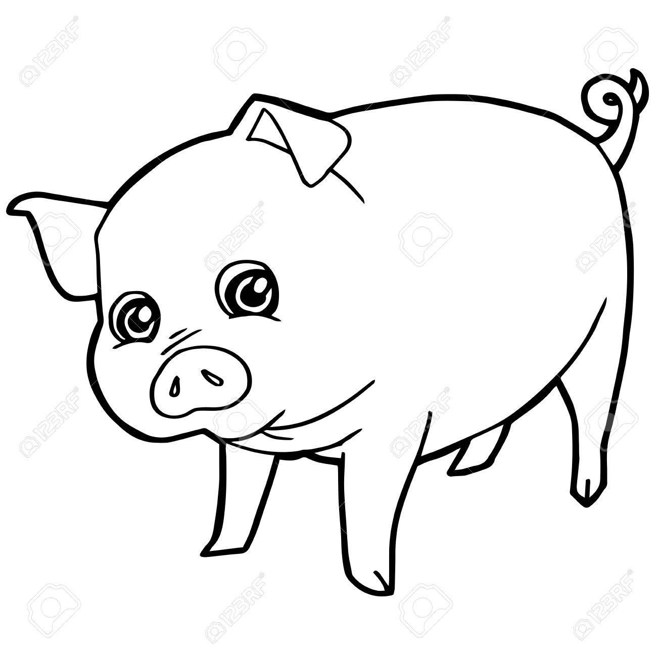Dessin Animé Mignon Cochon Coloriage Page Illustration concernant Dessin A Colorier Cochon