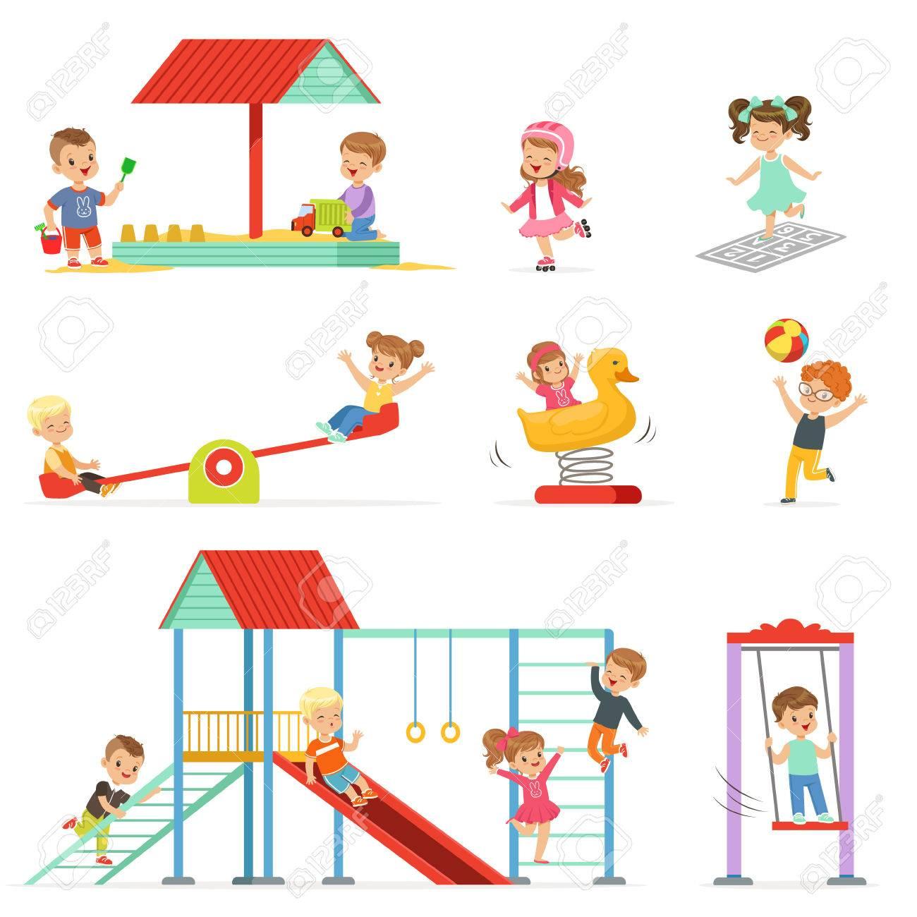 Dessin Animé Mignon Petits Enfants Jouant Et S'amuser À L'ensemble De  L'aire De Jeux, Enfants Jouant À L'extérieur Vecteur Illustrations Isolées  Sur à Jeux Enfant Dessin