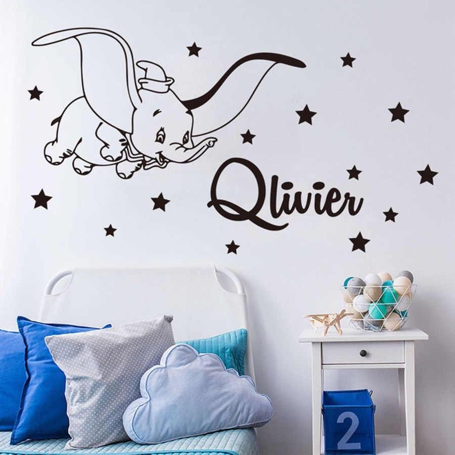 Dessin Animé Personnalisé Nom Dumbo Star Sticker Mural Enfants Chambre  Chambre Personnalisé Nom Dumbo Animal Mur Autocollant Pépinière Vinyle  Décor à Dessin Dumbo