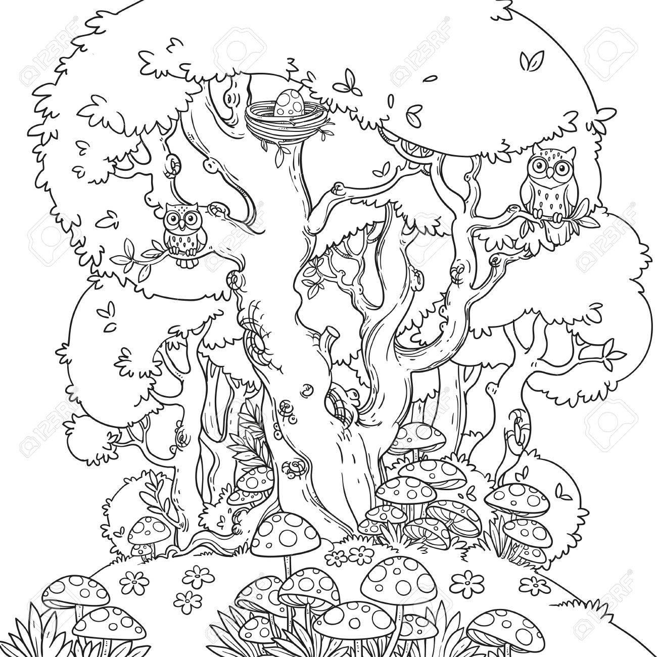 Dessin Au Trait D'une Clairière De La Forêt Avec Champignon Et Un Grand  Arbre Qui Abrite Des Hiboux Isolés Sur Fond Blanc concernant Dessin De Foret