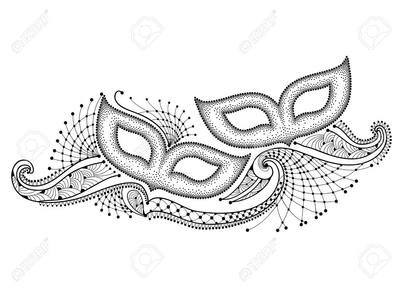 Dessin Avec Deux Pointillés Masque De Carnaval Et De Définir La Dentelle  Décorative En Noir Isolé Sur Fond Blanc. Design For Mardi Gras Parti Dans  Le dedans Dessin En Pointillé