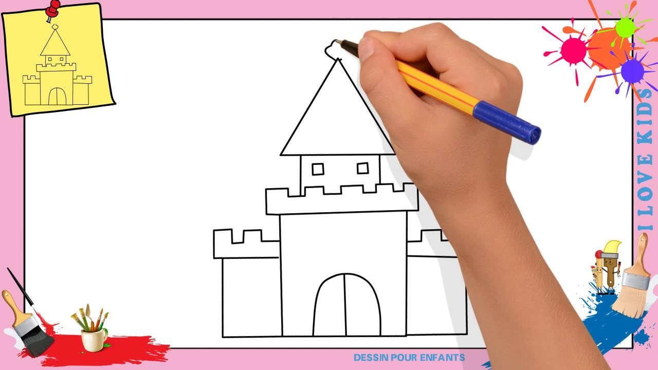 Dessin Château (Mettre À Jour)- Comment Dessiner Un Château Facilement Pour  Enfants à Chateau De Princesse Dessin