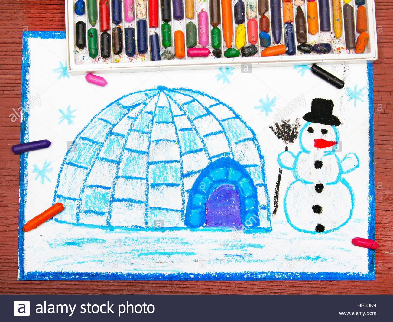 Dessin Coloré : Paysage D'hiver, L'igloo Et Le Snowman dedans Dessin De Paysage D Hiver