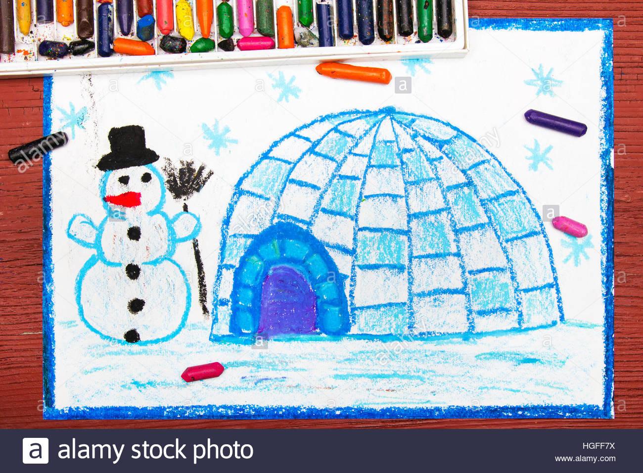 Dessin Coloré : Paysage D'hiver, L'igloo Et Le Snowman intérieur Dessin De Paysage D Hiver