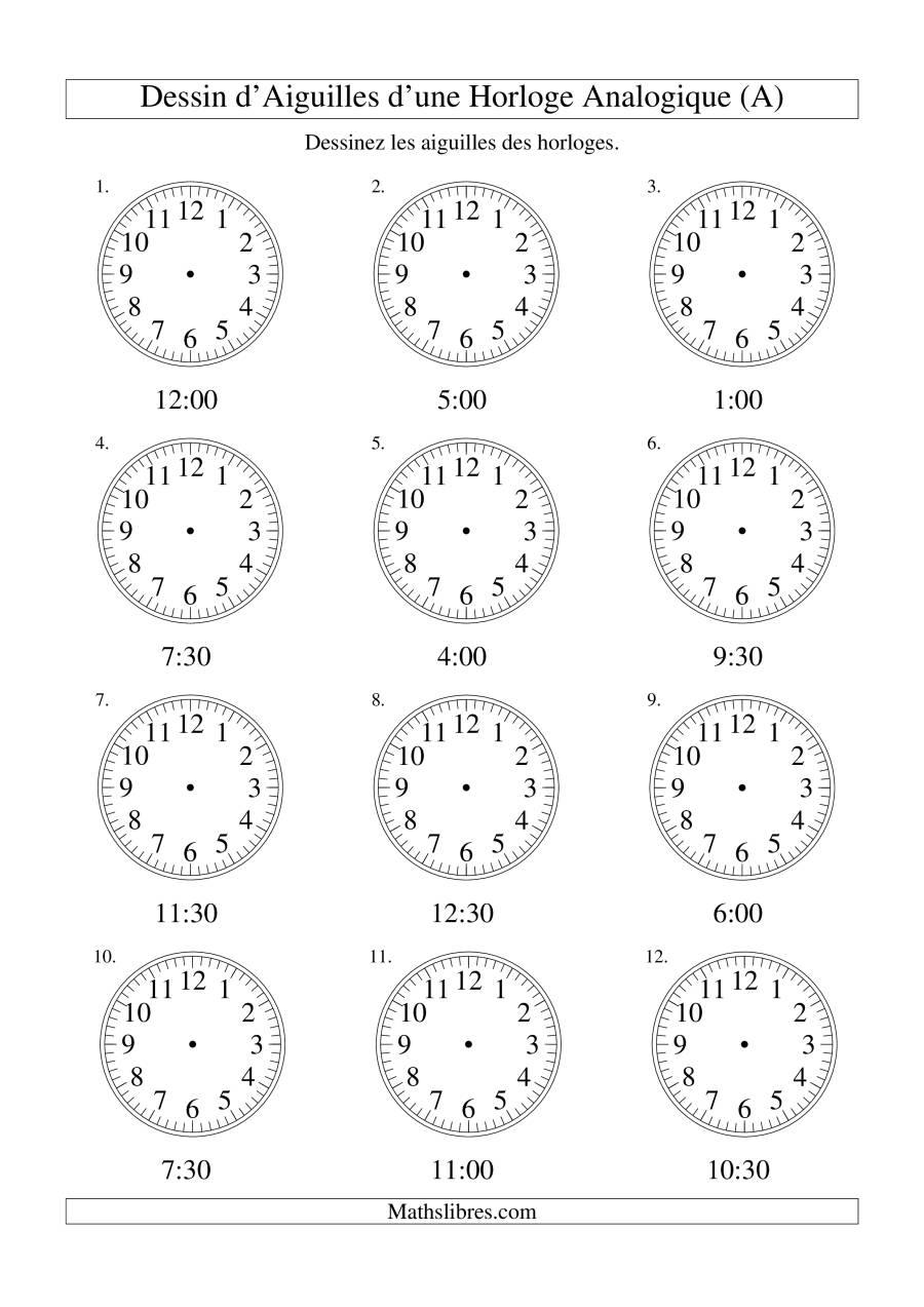 Dessin D'aiguiles Sur Une Horloge Analogique Avec 30 Minutes avec Dessin D Horloge