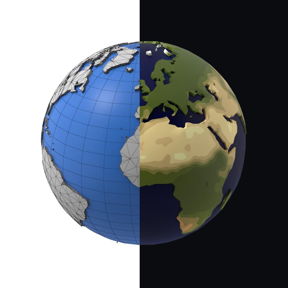 Dessin De Conception Simple Terre Basse Poly pour Image De La Terre Dessin