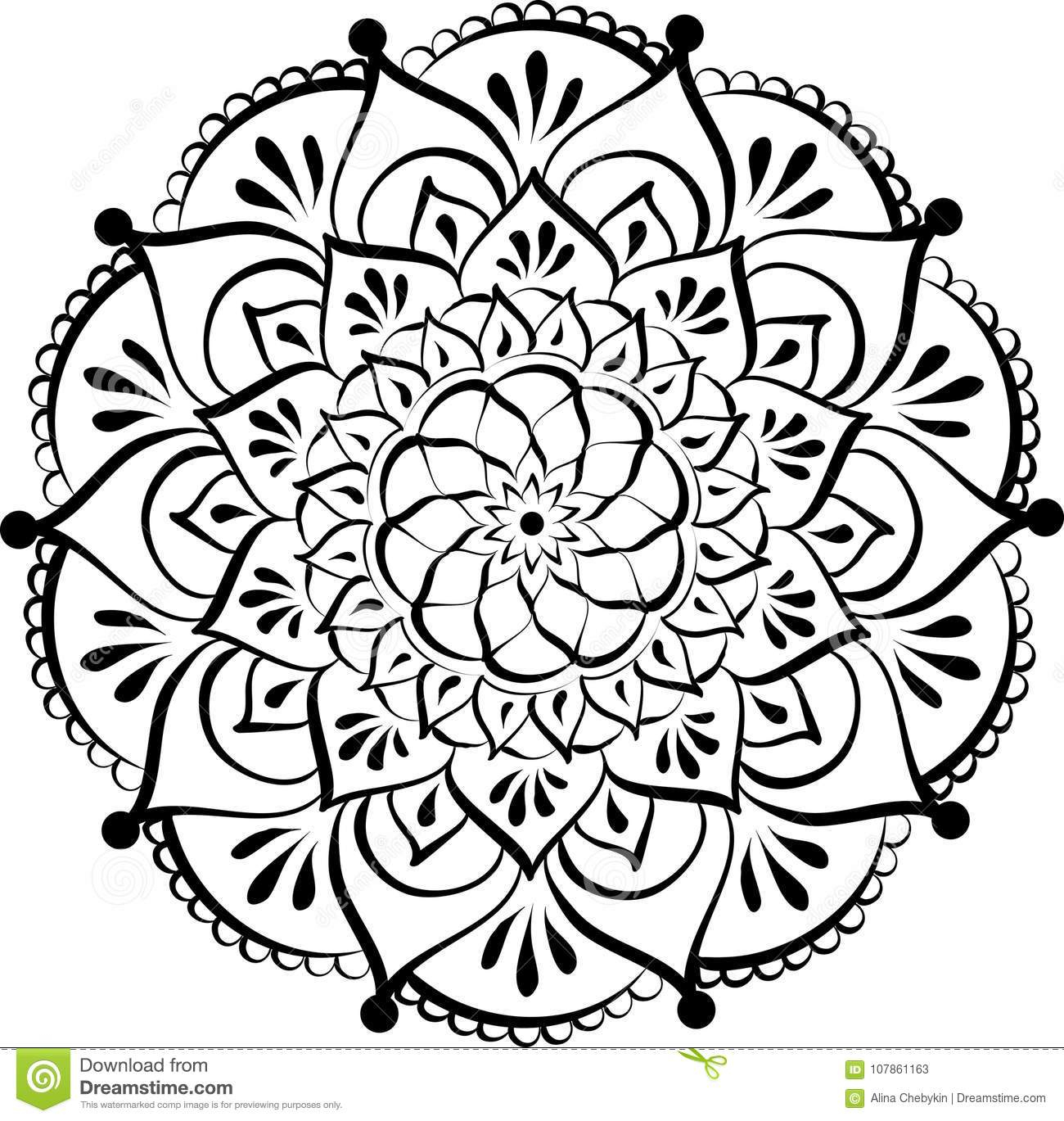 Dessin De Mandala Rond Floral De Dentelle Illustration De à Dessiner Un Mandala
