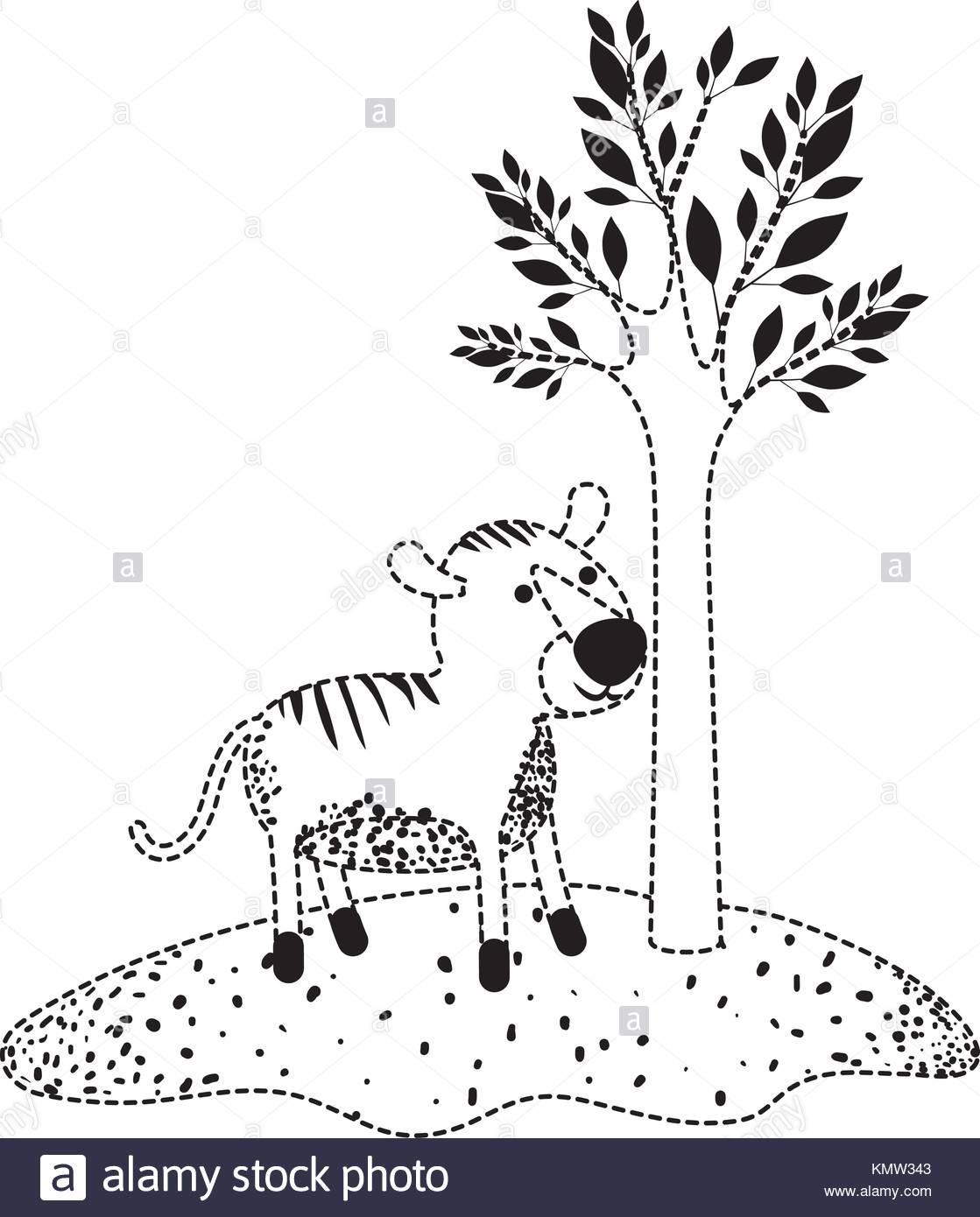 Dessin De Tigre À Côté De L'arbre En Silhouette En Pointillé à Dessin En Pointillé