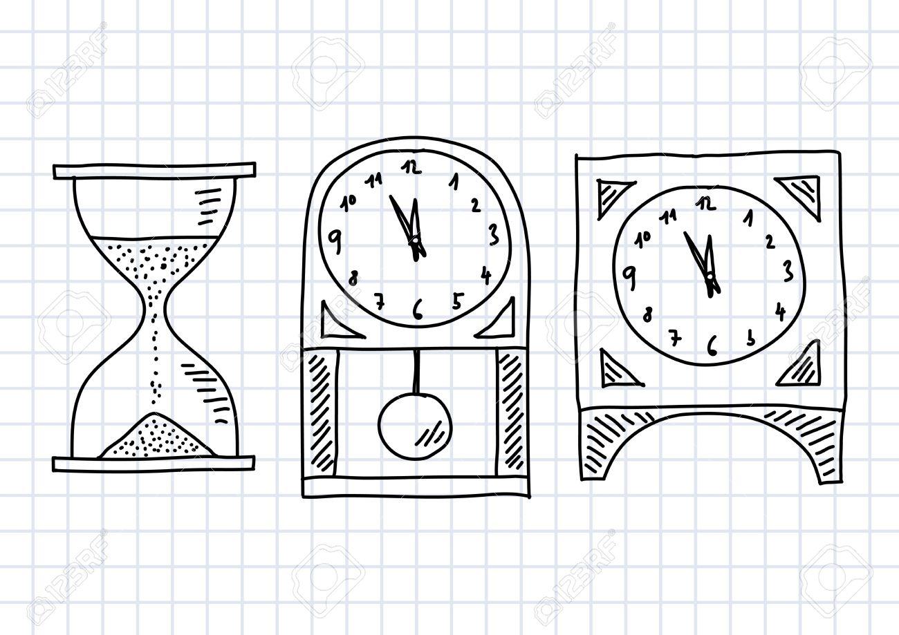 Dessin D'horloges Sur Papier Quadrillé intérieur Dessin D Horloge