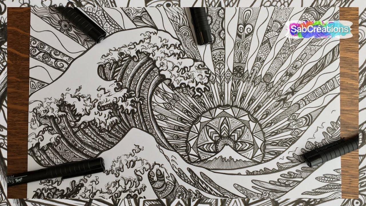 Dessin | Drawing - La Vague - Encre De Chine 🌊 Sabcreations dedans Dessin De Vague A Imprimer