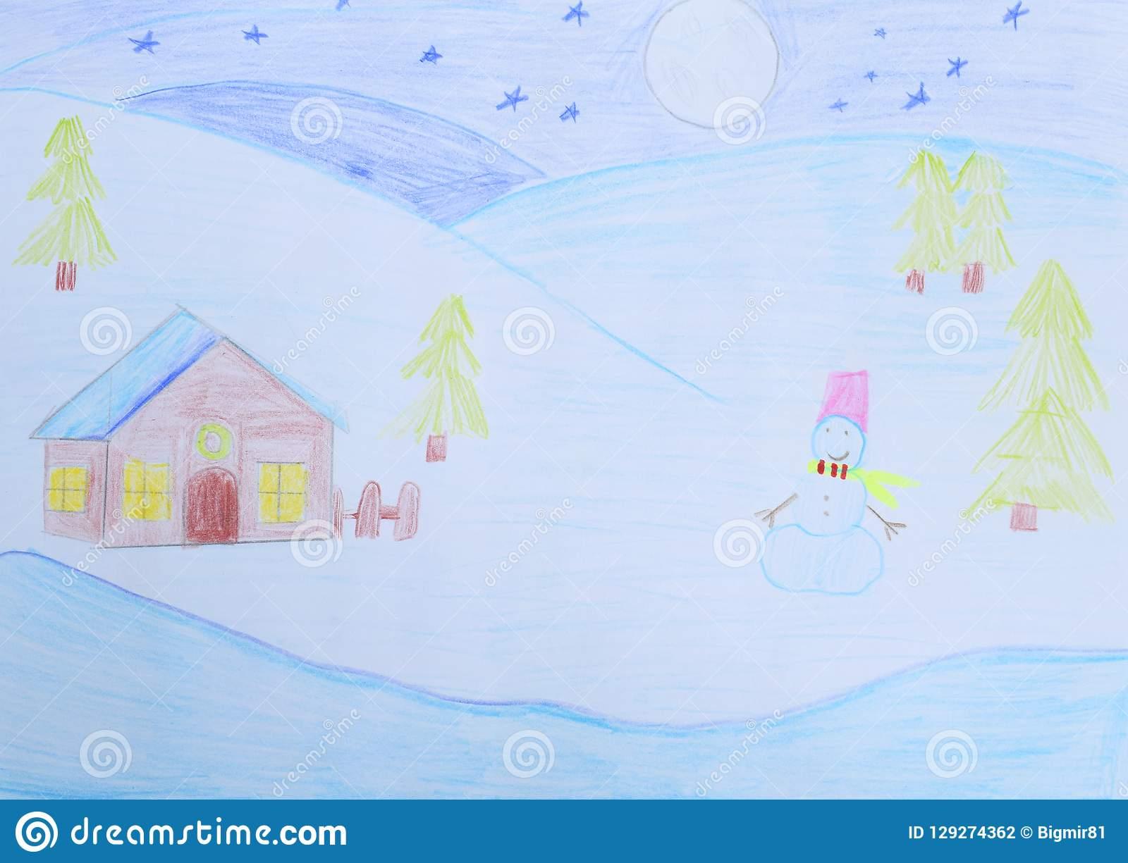 Dessin Du ` S D'enfants : Paysage D'hiver - Le Bonhomme De serapportantà Dessin De Paysage D Hiver