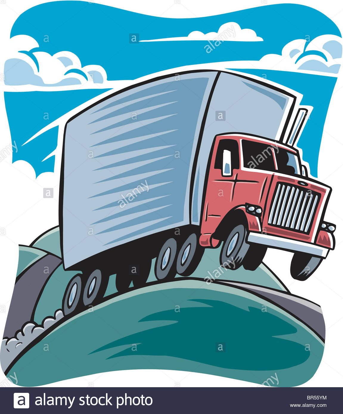 Dessin D'un Camion Sur Une Route Vallonnée Banque D'images encequiconcerne Dessin D Un Camion