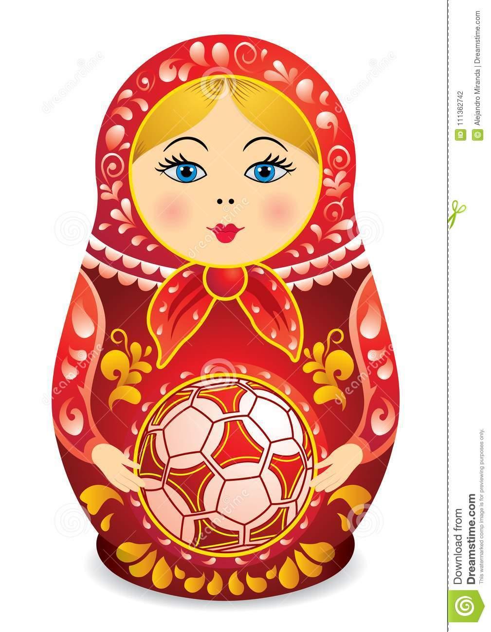Dessin D'un Matryoshka Dans La Participation Rouge Et Jaune destiné Nom Poupée Russe