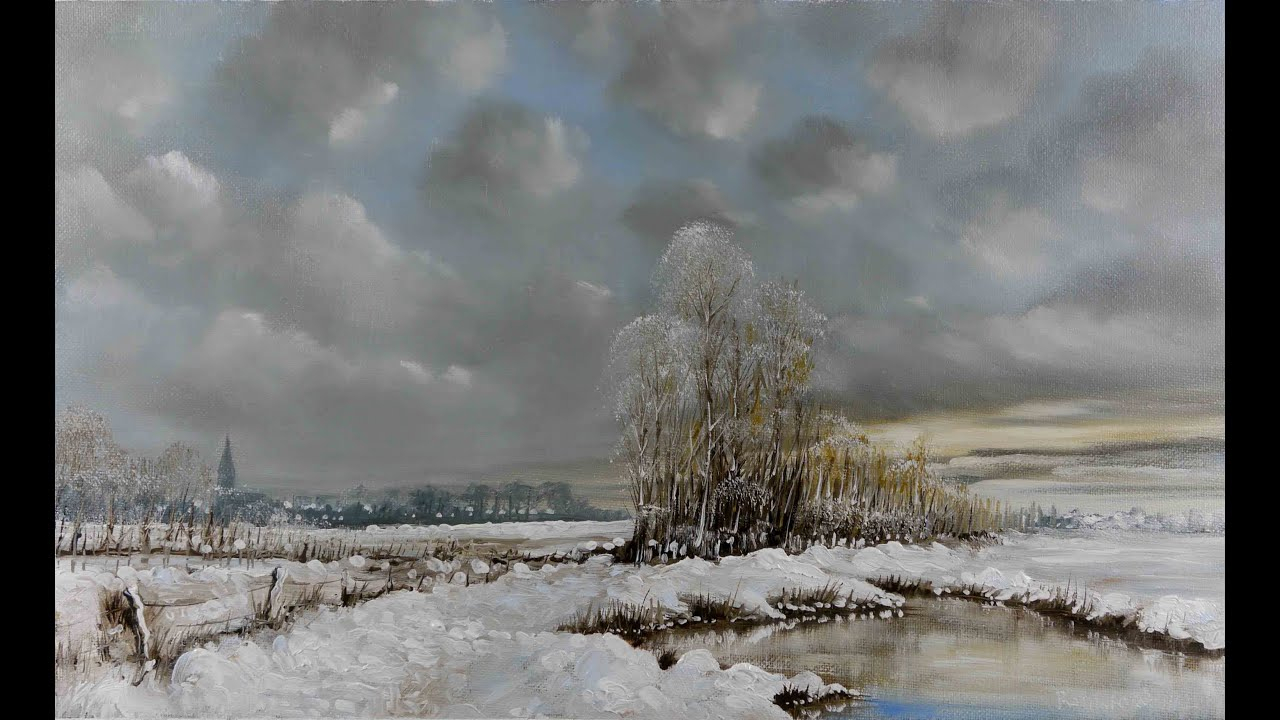 Dessin Et Peinture - Vidéo 578 : Paysage En Manteau Neigeux à Dessin De Paysage D Hiver