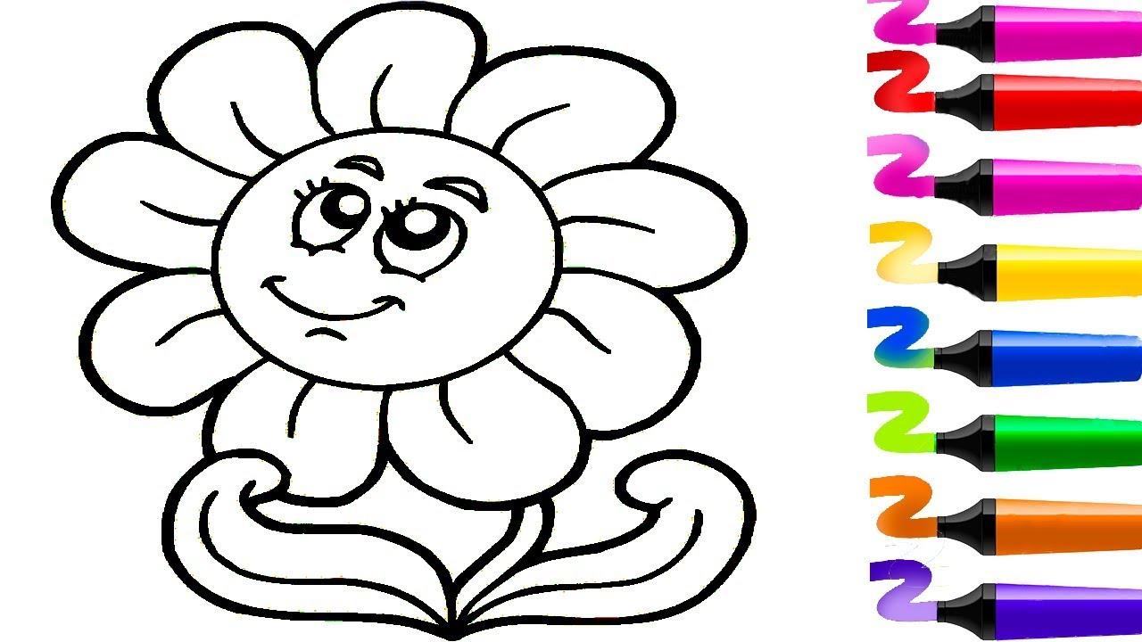 Dessin Facile! Dessin Fleur! Dessiner Et Colorier! Coloriage à Jeux Facile Pour Petit Gratuit