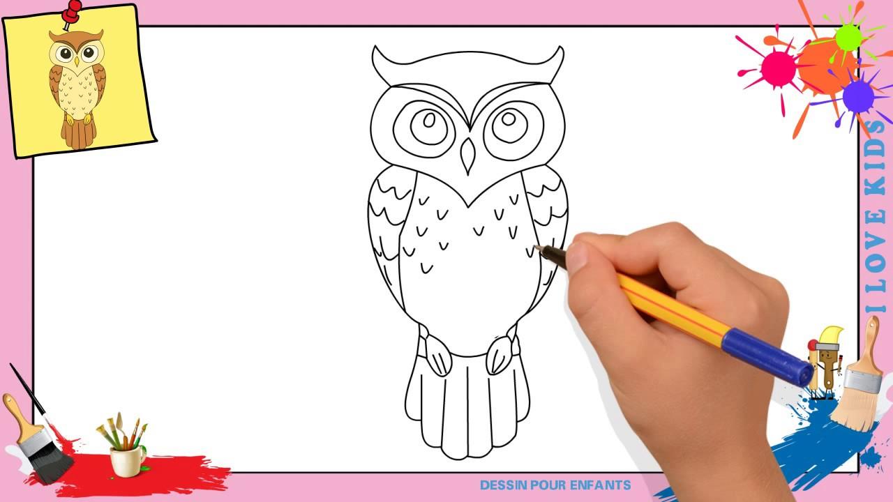 Dessin Hibou - Comment Dessiner Un Hibou Facilement Etape Par Etape Pour  Enfants intérieur Hibou Dessin Couleur