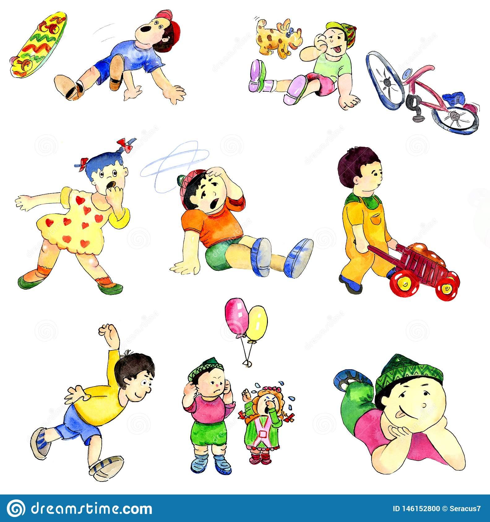 Dessin Jouant Des Enfants Dans Différentes Situations De Jeu intérieur Jeux Enfant Dessin