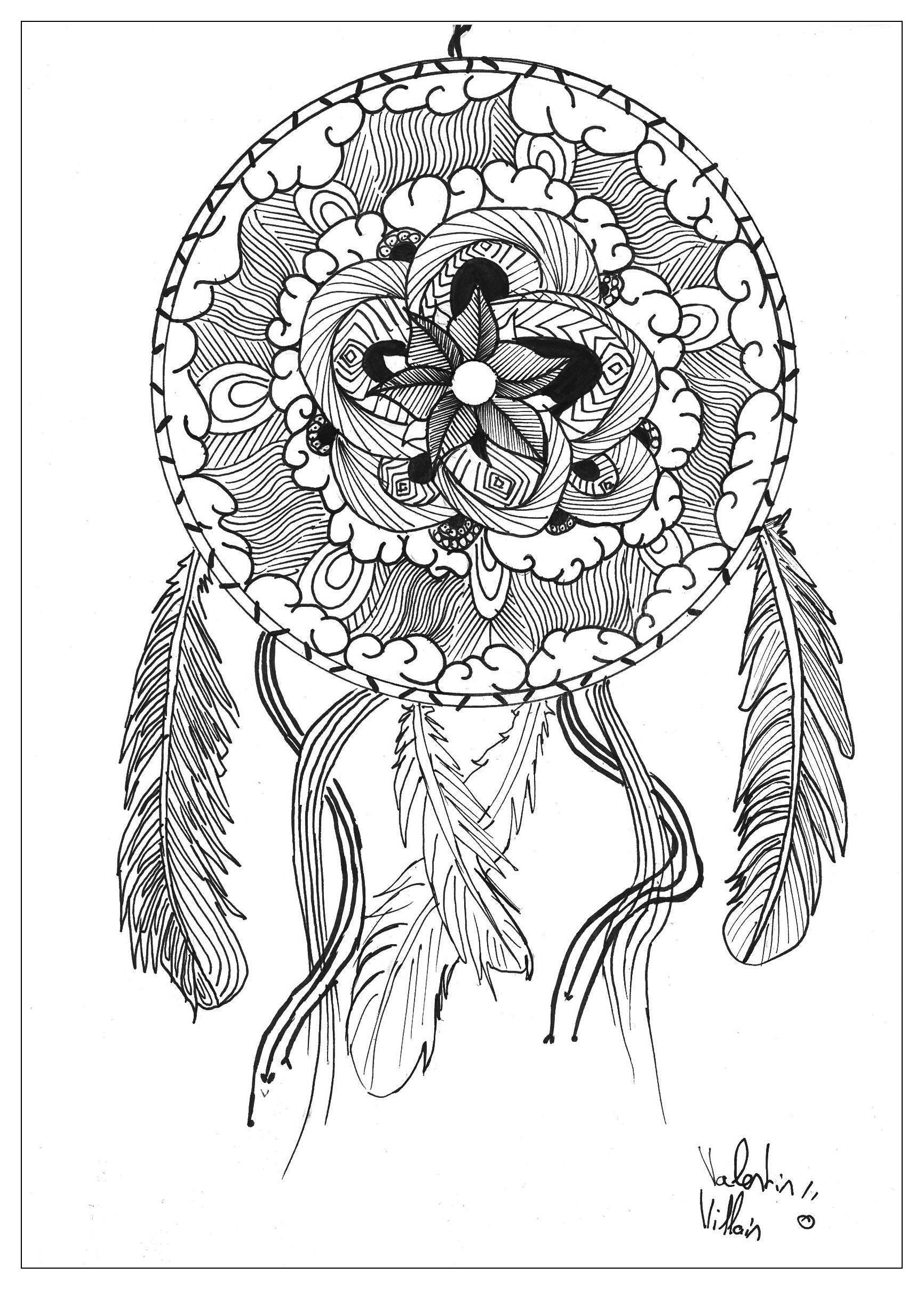 Dessin Mandala Capteur De Reve - Mandalas - Coloriages tout Dessiner Un Mandala