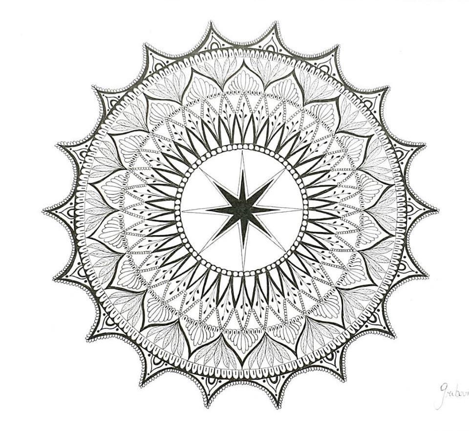 Dessin Mehndi-Mandala Unique Format A4 F destiné Dessiner Un Mandala
